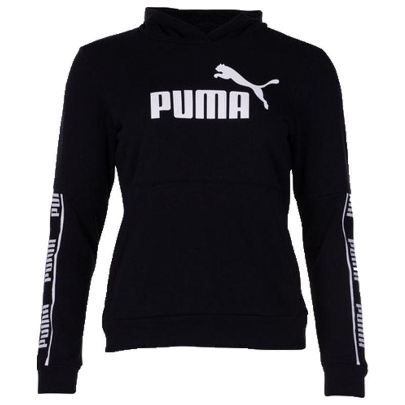 En snygg hoodie från Puma som har en skön bomullsblandning i materialet. Tröjan är svart med en Puma logo på framsidan och på ärmarnas sidor.