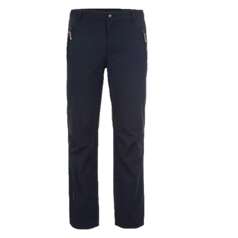 En svarta fritidsbyxa i en regular fit med två fickor i fram. Bilden visar byxornas framsida.