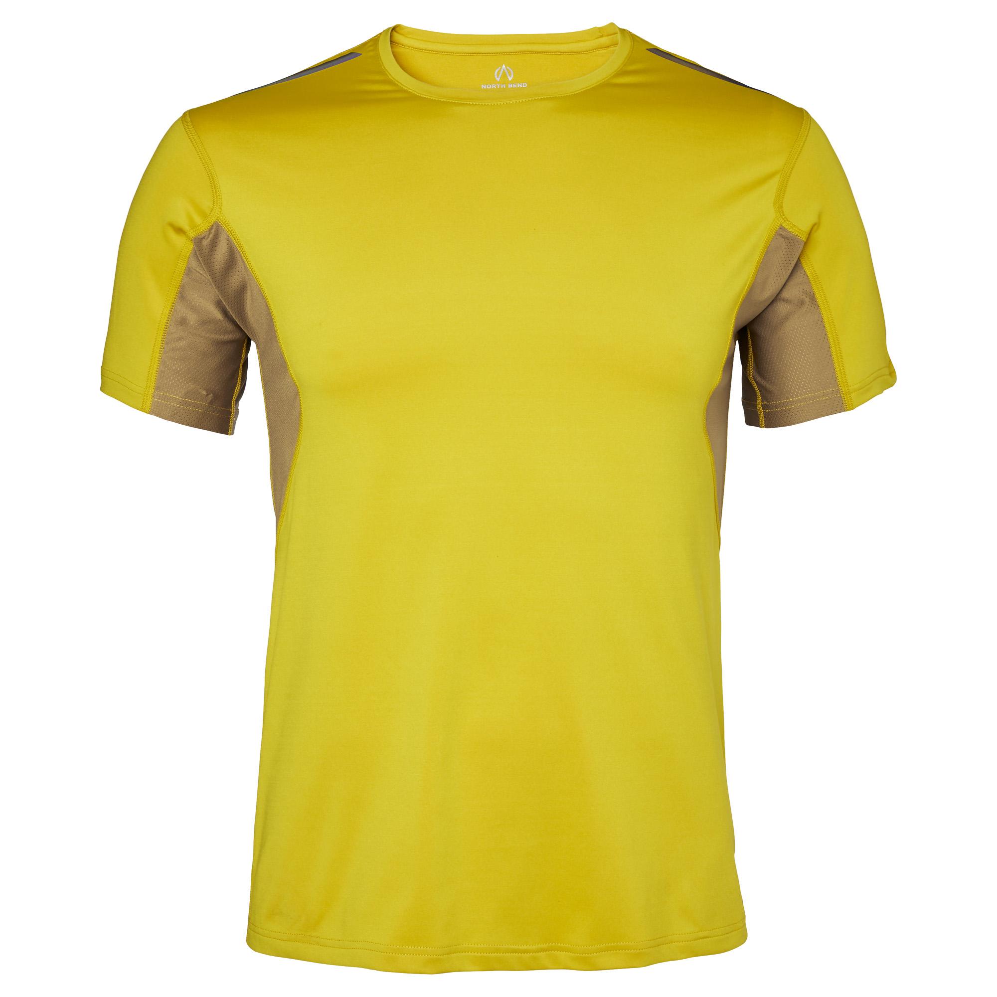 En gul tränings T-shirt från märket North Bend. Med tunnare tyg under armhålorna i senapsgul färg.