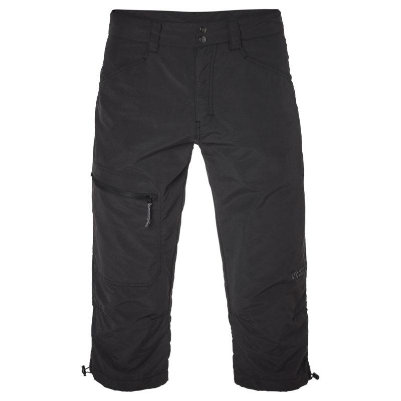Svarta tre kvarts byxor som passar till friluftsliv. En ficka med dragkedja på ena låret.