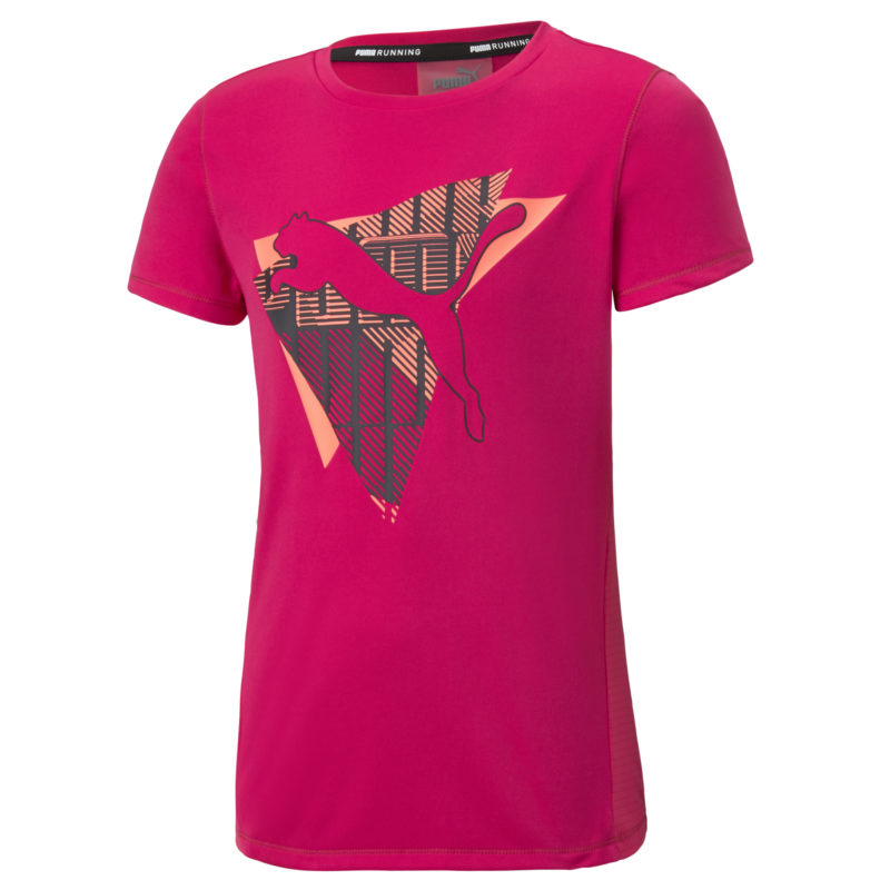 En Cerice-rosa T-shir som har en rund halsringning med ett tryck på framsidan, som är en bild av Pumas logo.