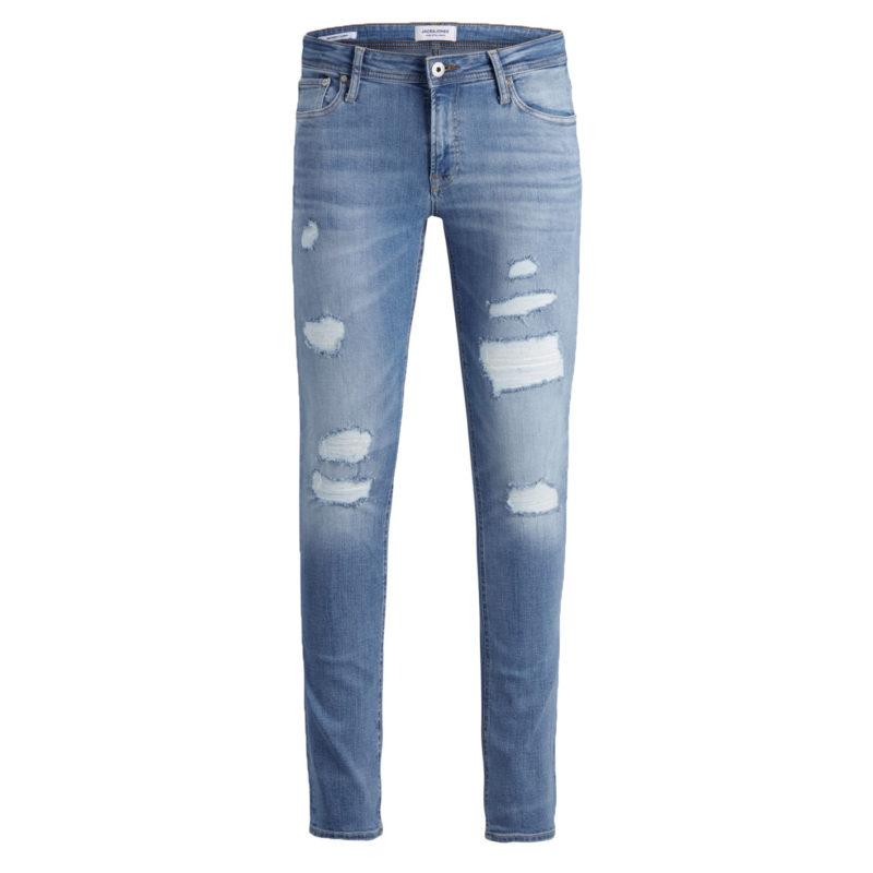 Liam Skinny fit-jeans från Jack & Jones har revor och lagningar på framsidan för en sliten look. Jeansen är ljusblåa med två fickor på framsidan.