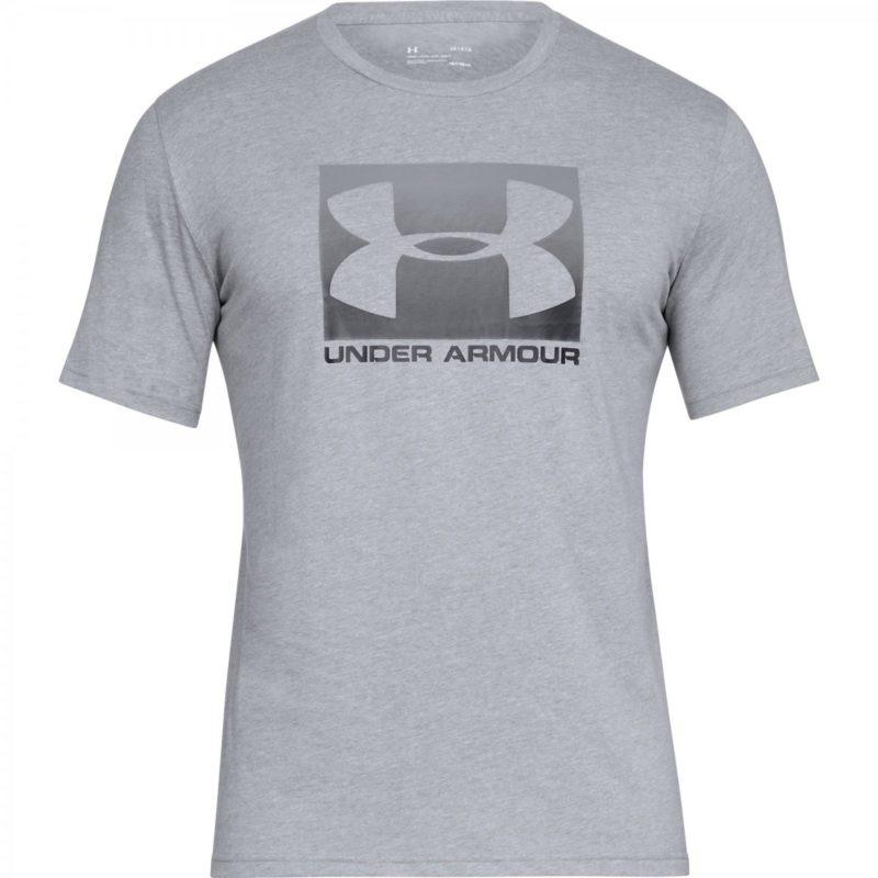 En grå T-shirt med ett tryck fram av loggan Under Armour